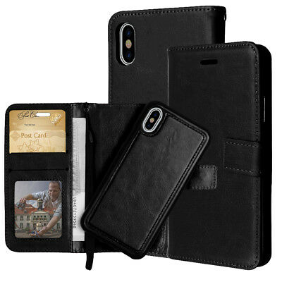 Luxury Magnetic Leather Removable Wallet Card Case Cover For iPhone X 8 7 6 Plus