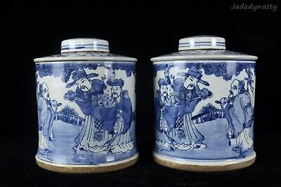 A Pair Chinese Beautiful Blue and White Porcelain Immortals Tea Caddies