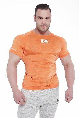 FA Sportswear T-Shirt Men Compression Orange - TRAININGSSHIRT - RUSGUARD