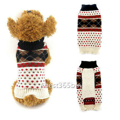 Knitted Dog Sweaters Small Mudium Puppy Cat Clothes Diamond Pet Jumper Coat