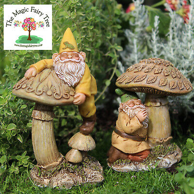 Eddie and Freddie - gnome figurines for fairy gardens and terrariums - toadstool