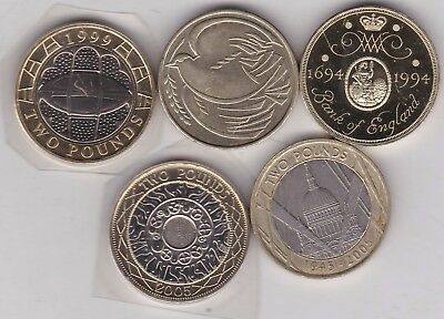Five Different Two Pound Coins Dated 1994 To 2005 In Near Mint Condition