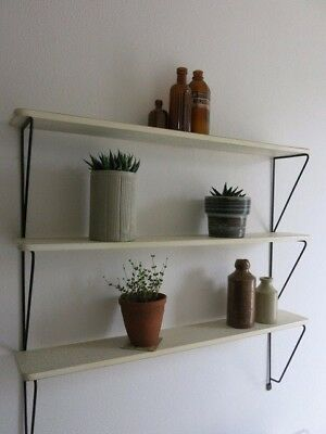 Vintage 50s 60s Mid Century Modernist Patterned Dutch String Shelving Unit