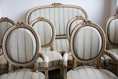 Antique French set of 7 Louis XVI style seating ( sofa, armchairs, chairs)