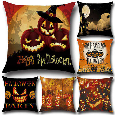 Halloween Decor Cushion Cover Square Fashion Flax Throw Pillow Case Soft Indoor