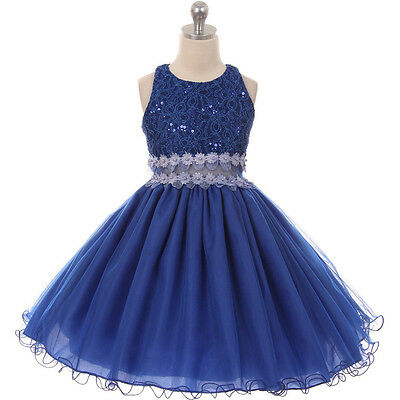 ROYAL BLUE Flower Girl Dress Bridesmaid Wedding Recital Birthday Party Dance