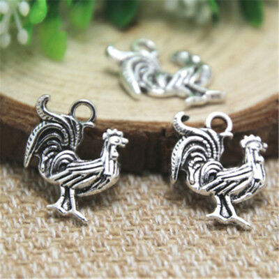 25pcs Rooster Charms Antique Tibetan silver Lovely Chicken Charm Pendant 20x17mm