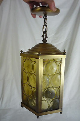 Vintage Brass & Amber Glass Panels Hexagon Hanging Light Lamp Ceiling Fixture