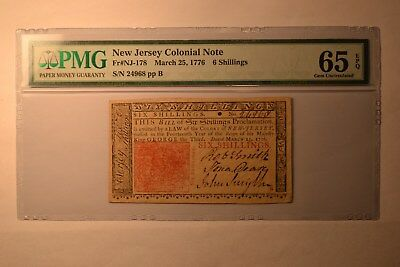 New Jersey March 25, 1776 6s PMG Gem Uncirculated 65 EPQ.