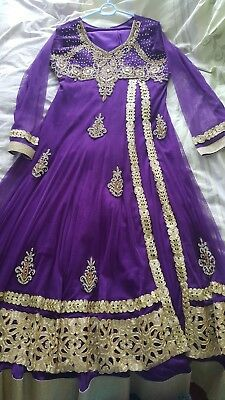 Ladies Anakali purple and gold indian suit.sz 42