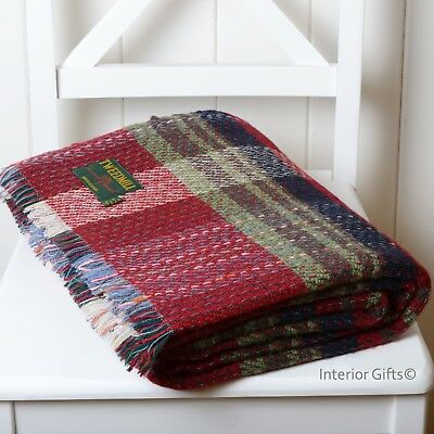 Tweedmill *LARGE* Recycled 100% WOOL THROW TRAVEL BLANKET Camping - CRANBERRY