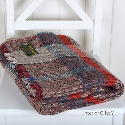 Tweedmill *LARGE* Recycled 100% WOOL THROW TRAVEL BLANKET Camping - RICH COLOURS