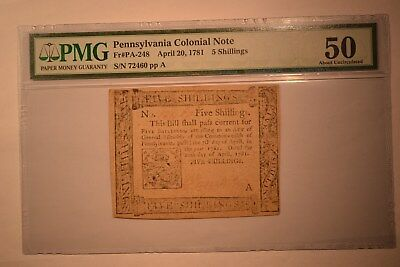 Pennsylvania April 20, 1781 5s PMG About Uncirculated 50.