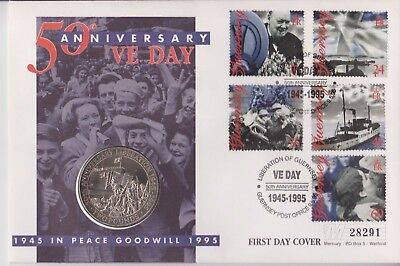 Guernsey Qeii  Pnc Coin Cover 1995 Ve Day Liberation £2 Coin