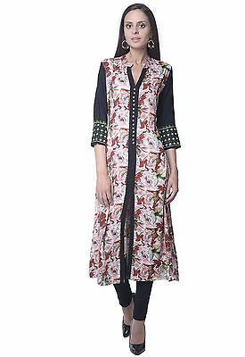 Indian Bollywood Designer Front Cut Rayon Flower Printed Top Tunic Ethnic Kurti