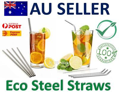 Straight Stainless Steel Drinking Straws Metal Straw Bent Reuseable Brushes Food