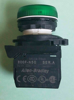 AB 800F-N5G & 800FP-P3, 22 mm Pilot Light, LED GREEN, 120 VAC with Lens & Ring