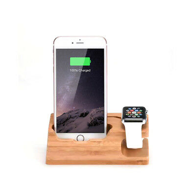 3USB Out Wooden Desktop Stand Holder Charger Dock Station For Apple Watch iPhone