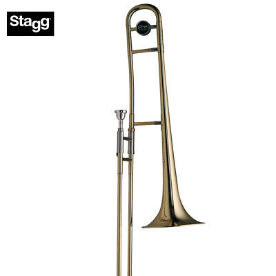 NEW Stagg WS-TB225 Bb Tenor Slide Chrome Plated Brass Trombone with ABS Case