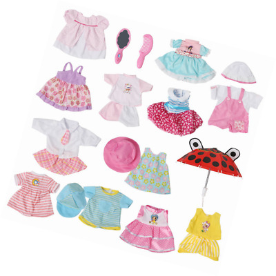 Set of 12 Handmade Baby Doll Clothes Dress Outfits Costumes For 14-16 Inch Dolly