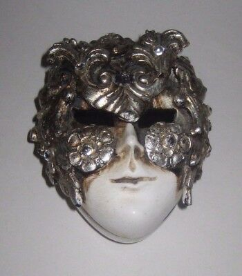 Ornate MARDI GRAS Venetian FACE MASK Pottery TRINKET BOX Made in ITALY