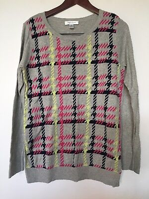 Motherhood Maternity Grey Plaid Sweater Size Medium Long Sleeve