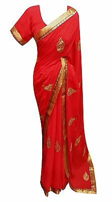 Bollywood Theme & Indian Wedding Party wear online RED saree with Blouse UK 7261