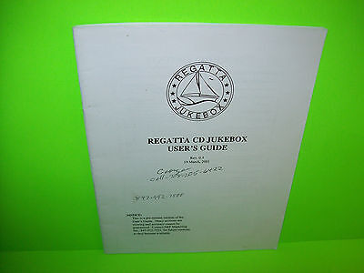 Regatta Jukebox Original 2001 Phonograph Music Users Guide Service Repair Manual