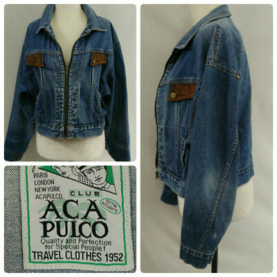 VTG 80s Cropped Jean Jacket Womens M Distressed Denim Faux Leather flap Pockets