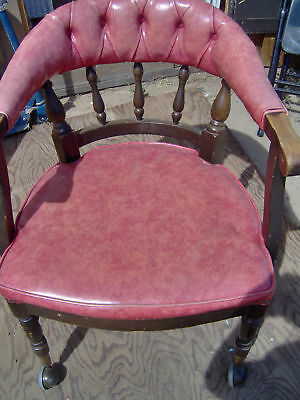 Vintage Shelby Williams Wood Arm Chair w/Upholstered Se