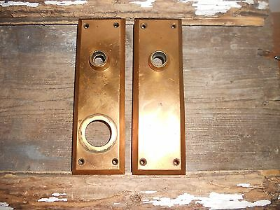 Vtg Low Priced Brass Steampunk Rustic Antique Door Knob Back Plates Art/crafts