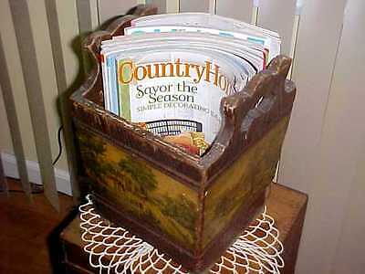 ANTIQUE WOOD Rustic Box CURRIER IVES Magazine HOLDER Rack 4- Seasons ART PRINTS