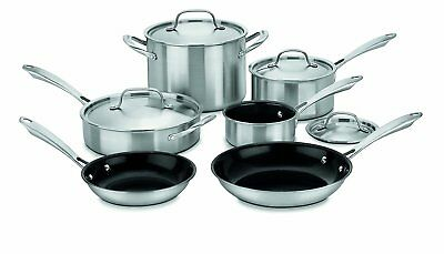 NEW! Cuisinart GreenGourmet Tri-Ply Stainless 10-Piece Cookware Set - GGT-10