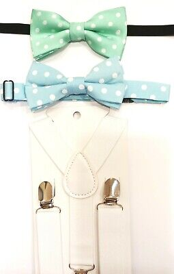 Young Boy's Light Blue and White Polka Dot Cotton Adjustable Bow Tie