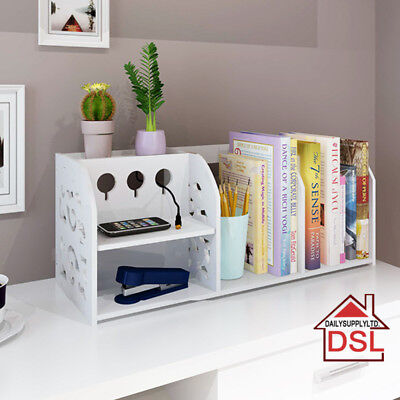 2 Tiers Desktop Cable Tidy Book Case Book Shelf CDs Organizer Stationery Storage