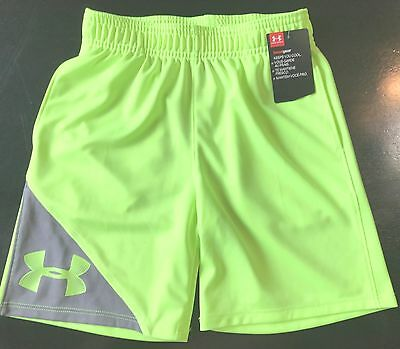 Kid's Under Armour Heat Gear Neon Shorts Boy or Girl Fuel Green Size 6