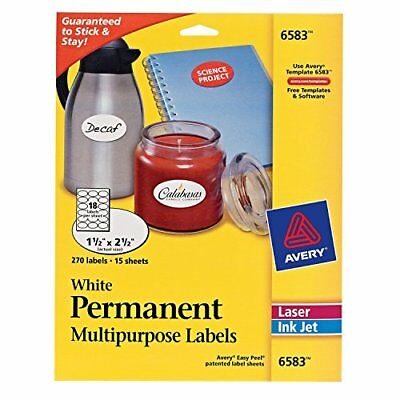 Avery White Oval Labels White Permanent Pack of 270  6583