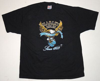 "Vintage 80s Harley Davidson T Shirt XL ""HARLEY RULES"" Logo Art 1987 One Wash"