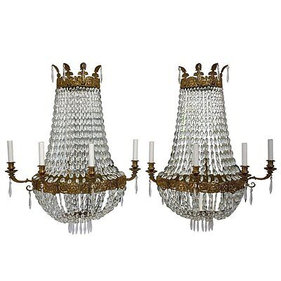 Pair of Large, French Empire Style Four-Light Wall Sconces with Mirrored Backs