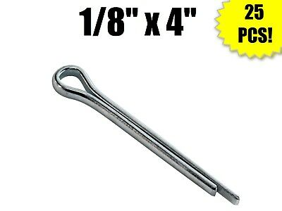 "(Qty 25) 1/8"" x 4"" Cotter Pin Carbon Steel Zinc Plated Clear"