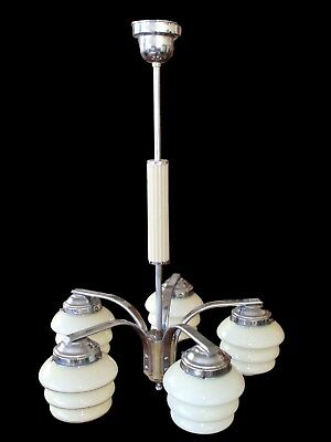 Antique 1930's ART DECO SHADE glass Ceiling light Pendant Chandelier Beehive