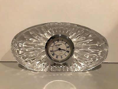 Waterford Crystal Cut Glass Ireland Irish Oval Quartz Desk Clock Beautiful!