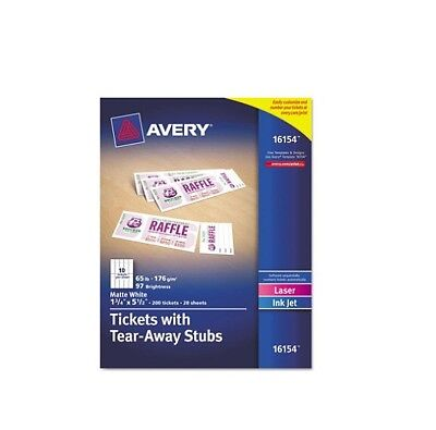 Avery Printable Tickets w Tear Away Stubs1-3/4 x 5-1/2 Matte White 200Tickets Pk