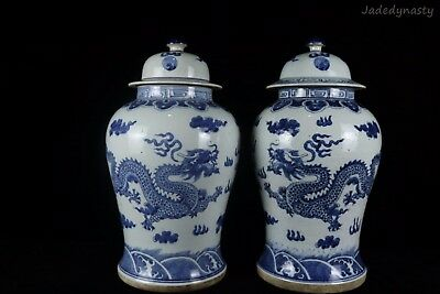 A Pair Chinese Beautiful Blue and White Porcelain Dragons Jars