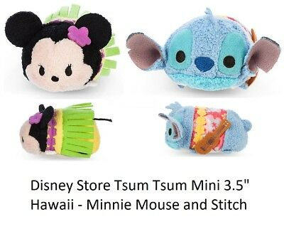 "Disney Store Hawaii Stitch and Minnie Mouse Tsum Tsum Mini 3.5"" Plush B69 NWT"