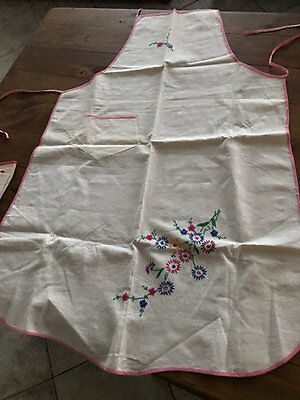 Vintage Embroidered Floral Aprons Unused X Two!