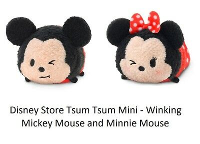 Disney Store Mickey and Minnie Mouse Tsum Tsum Expressions Plush Mini B71 NWT