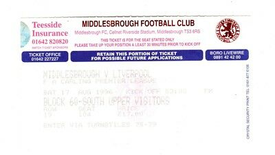 Ticket 1996-1997 Middlesbrough  v Liverpool