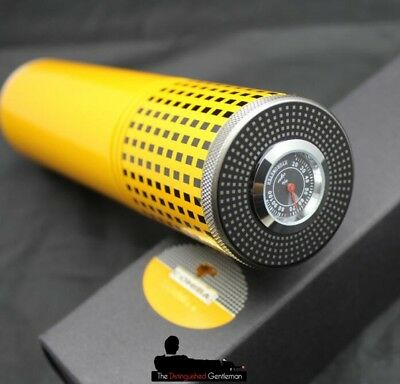Cohiba Yellow Cigar Travel Tube Jar Case With Built In Humidor And Hydrometer