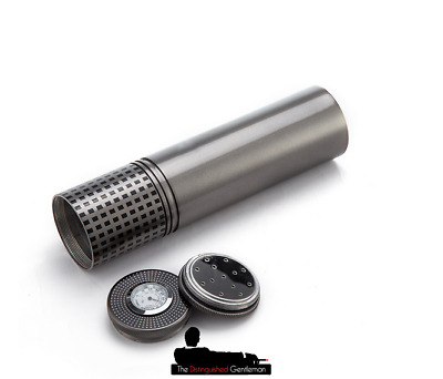 Cohiba Grey Cigar Travel Tube Jar Case With Built In Humidor And Hydrometer